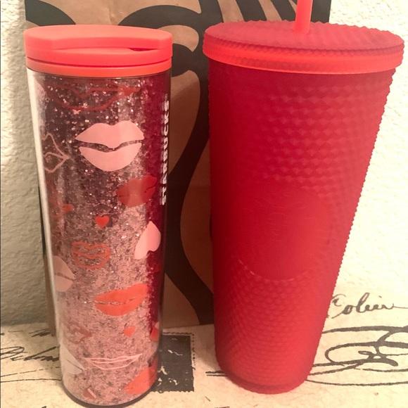 Starbucks Red Studded Tumbler & Glitter Tumbler.